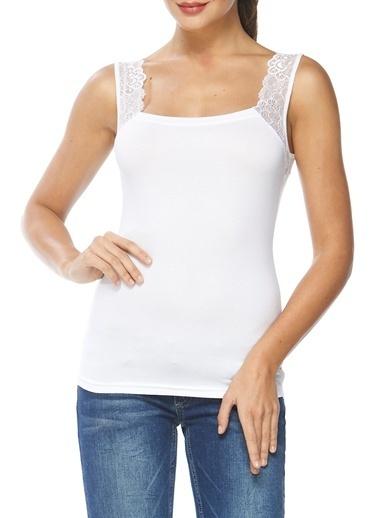 Sevim Modal Dantelli Kadın Atlet Beyaz